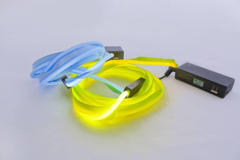 Sangle avec LED jaune et bleu